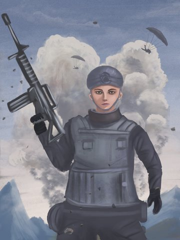 Hand-painted dajidali to eat chicken stimulate the battlefield special forces soldiers grab, Delicate And Realistic, Eat Chicken Game, Big Bombing illustration image