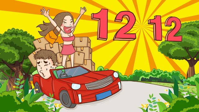 Double twelve girls crazy shopping hand-painted original illustration, Double Twelve, Double 12, 1212 illustration image
