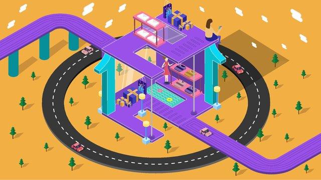 double mười hai 25d vector minh họa cửa hàng mua sắm thương mại điện tử taobao Hình minh họa