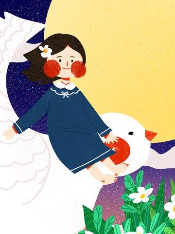 夢を引くティーンエイジャーの女の子が飛んでいる鳥かわいいシンプルなフラットオリジナルイラスト イラストレーション画像 イラスト画像