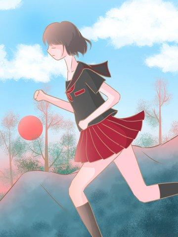 追夢少年夢想勵志插畫奔向黎明的少女 插畫素材 插畫圖片