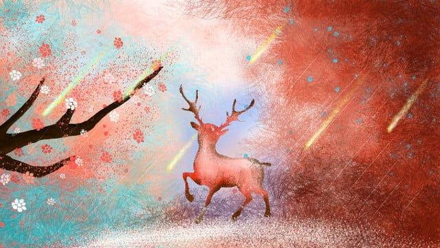 麋鹿唯美梦幻星空渐变粉色世界麋鹿  唯美  梦幻PNG和PSD illustration image