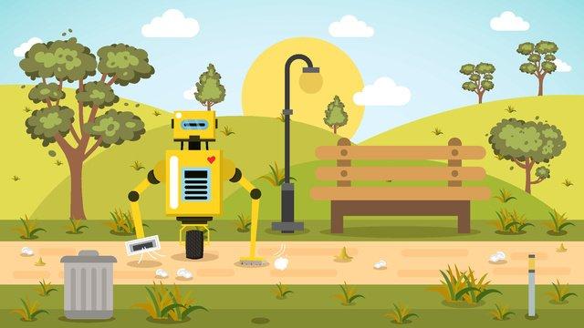 環境への配慮、初秋、勤勉で清潔な公園の警備員 イラスト素材