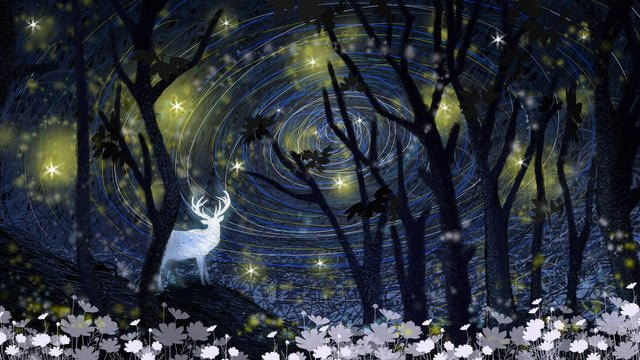 Fantasy starry sky coil illustration cures the elk in forest, Fantasy, Starry Sky, Coil illustration image