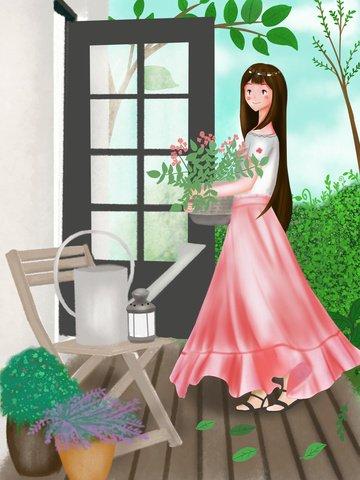 Happy time illustration of fat house girl illustration image