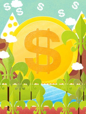financial management flat wind jinshan green plant clear water noise illustration illustration image