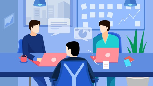 Синий плоский бизнес офис Ресурсы иллюстрации