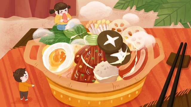 Warm tones winter food villain hot pot illustration, Food, Hot Pot, Winter Food illustration image
