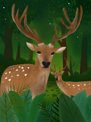Lin shen sees deer original illustration, Forest, Deer, Sika Deer illustration image