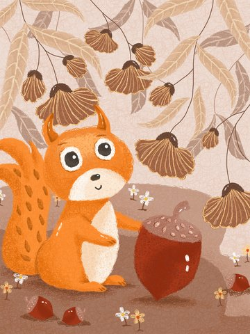 Cute little squirrel coil illustration in autumn forest, Forest, Squirrel, Cute Pet illustration image