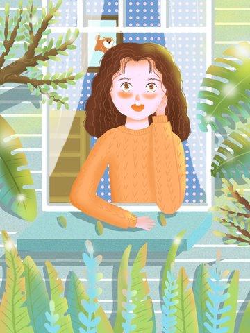 Girl daze cute fresh illustration, Girl, Daze, Fresh illustration image