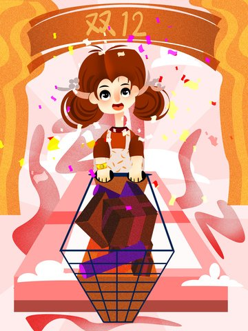 Double twelve girls cloud shopping creative illustration, Girl, Double Twenty, Shopping illustration image
