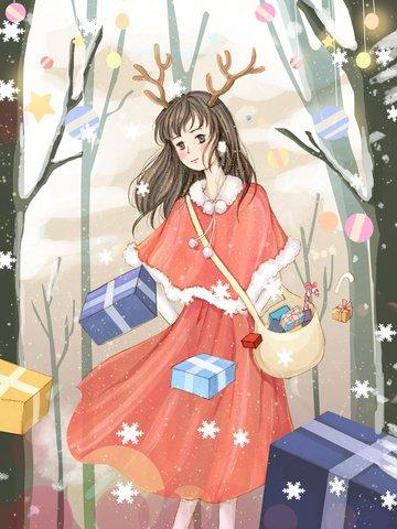 original christmas illustration delivery girl llustration image