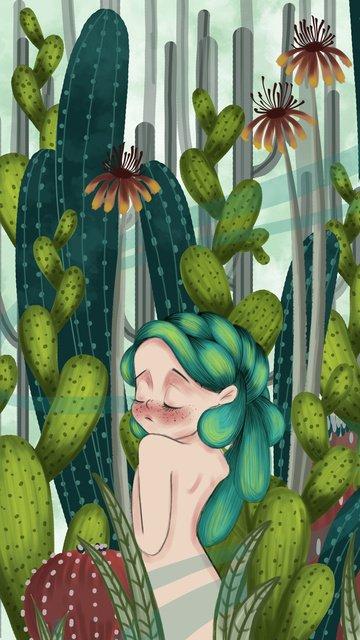 少女植物サボテン治療システムの図 イラストレーション画像
