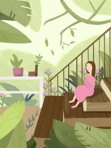 Simple fresh plant angry single girl original illustration, Girl, Sad, Stairs illustration image