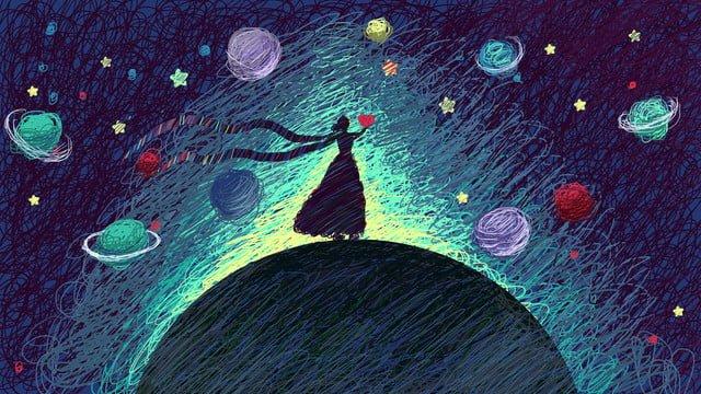 menina olhar a céu estrelado bonito bobina ilustração Material de ilustração