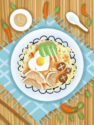 おはようございます、おいしい麺、グルメイラストレーション イラスト素材