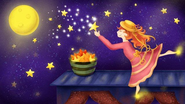 世界図とおやすみかわいい女の子 イラスト素材 イラスト画像