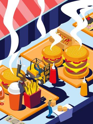 Original food burger shop illustration, Gourmet Battle, Burger Shop, Awning illustration image
