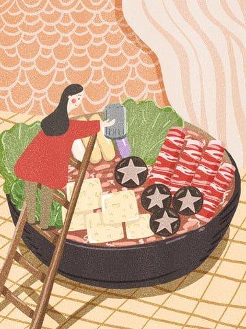 グルメ名作、日本の鍋、温かいランチ イラスト素材