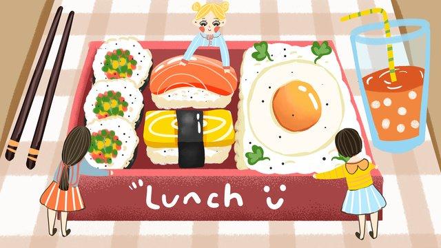 gourmet warfare sushi bento hộp cơm trưa vẽ tay minh họa Hình minh họa Hình minh họa