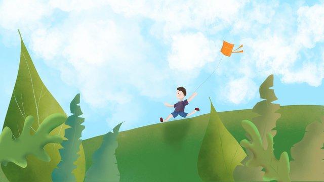 Grassland sky child kite, Run, White Clouds, Running illustration image