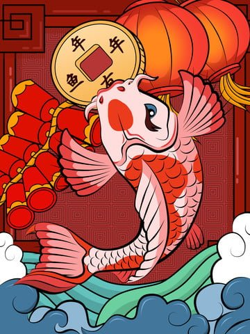 years of fish transport koi tidal style illustration llustration image