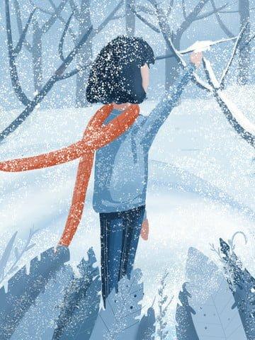 癒し、こんにちは、冬、美しいイラスト、小さな新鮮な色調 イラスト画像
