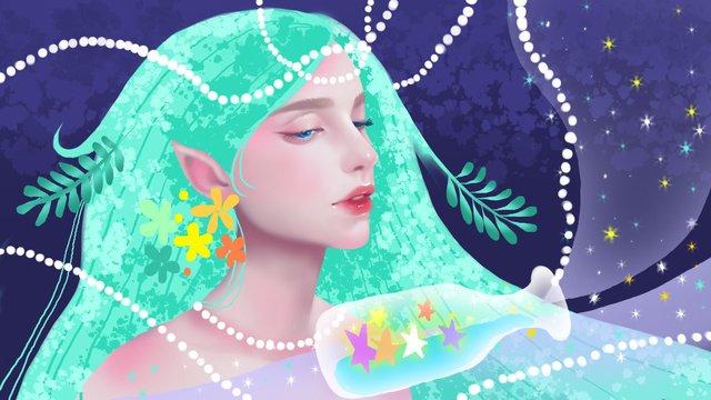 Healing girl beautiful illustration, Healing, Beautiful, Teenage Girl illustration image