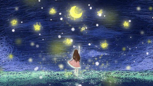 कुंडल चित्रण वाली लड़की आकाश की ओर देख रही है चित्रण छवि चित्रण छवि