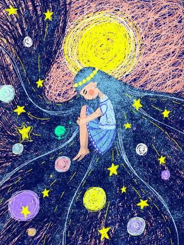 Healing coil illustration star girl llustration image