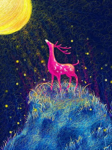 Healing elk illustration under the moonlight, Healing, Deer, Moonlight illustration image