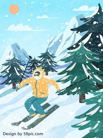 스키 장면 질감 현실적이 고 현실적인 원래 손으로 그린 그림 삽화 소재