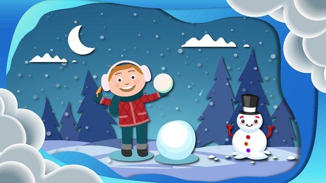 ثلجي البياض، أقات أثناء الشتاء، رسم كاريكتوري، paper cut، wind، illustration مواد الصور المدرجة الصور المدرجة