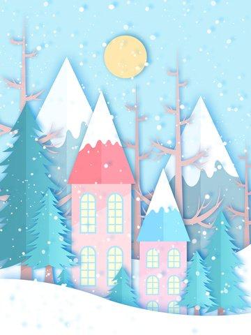 neve corte papel vento ilustração frente madeiras cabana Material de ilustração