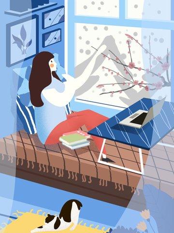 元の冬こんにちは美しい少女のイラスト イラスト画像