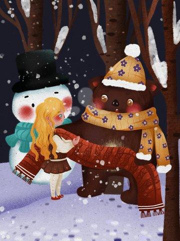 शीतकालीन हैलो भालू लड़की दुपट्टा परी कहानी गर्म चित्रण दे रही है चित्रण छवि