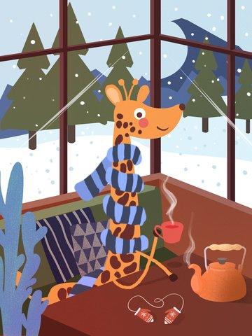 겨울 안녕하세요 기린 그림 삽화 소재