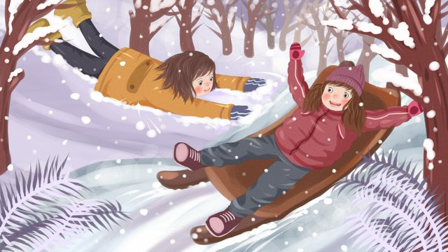 winter hello illustration of little girl playing with snow in the llustration image
