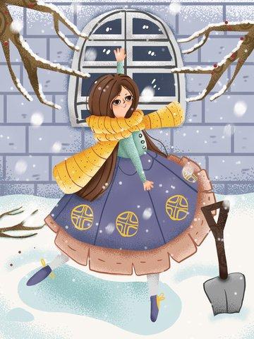 겨울 안녕하세요 여자 성 밖에 서 눈에 춤 그림 이미지
