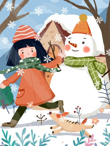 winter hello little girl and puppy playing warm cute illustration llustration image illustration image
