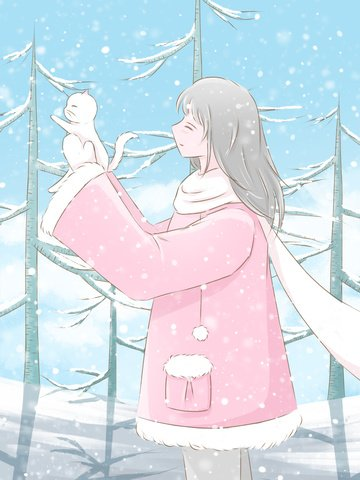 winter hello little fresh illustration girl in the woods holding a kitten llustration image illustration image