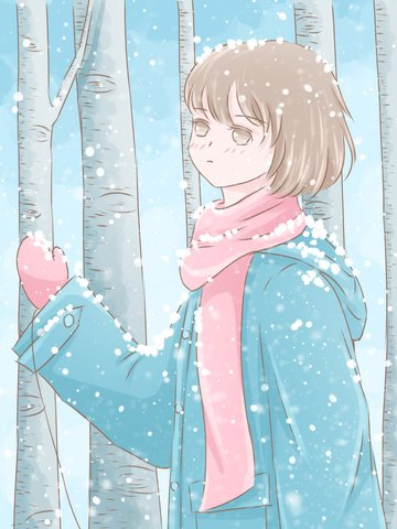 winter hello little fresh illustration girl watching the snow in woods llustration image illustration image
