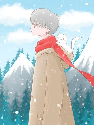 winter hello little fresh illustration boy with kitten climbing looking snow illustration image