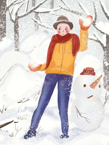オリジナルイラスト冬こんにちは雪だるまファイト雪だるま イラスト画像