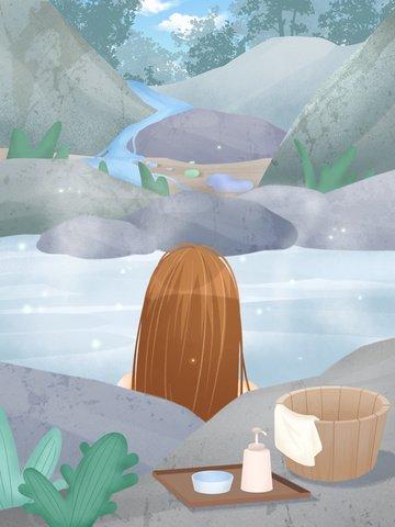Original texture small fresh illustration little girl hot spring illustration image