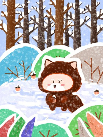 Original small fresh early snow forest illustration, Illustration, First Snow, Winter illustration image