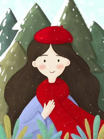 red small fresh beautiful girl new year illustration llustration image