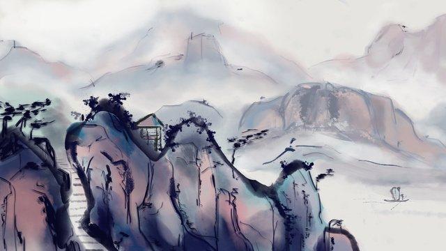中国風の風景画インク  風景画  中華風 PNGおよびPSD illustration image