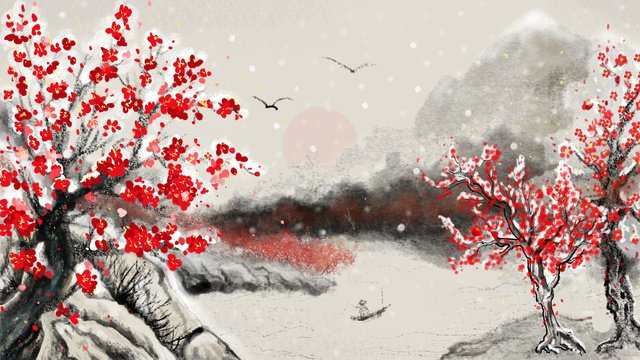 Winter hanmei independent cold river snow ink chinese style illustration llustration image